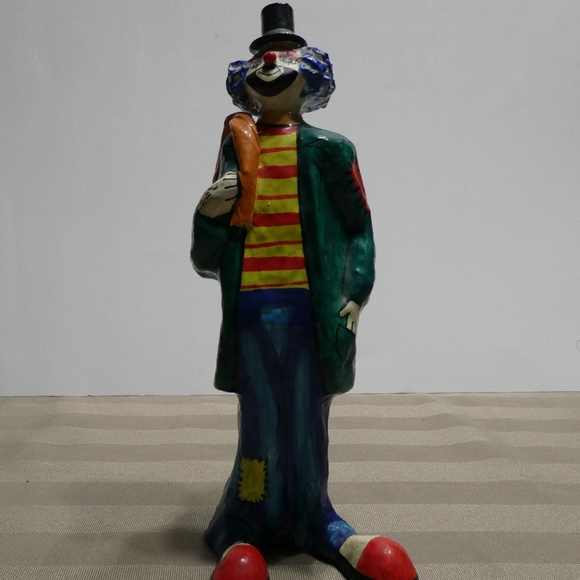 CLOWN paper mache hand crafted & painted figurine